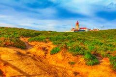 roca för caboda portugal Fyr och Atlantic Ocean Royaltyfria Bilder