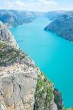 Roca famosa del púlpito de la atracción turística en Noruega Imagen de archivo libre de regalías