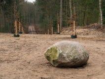 Roca grande en bosque con la trayectoria que lleva lejos en la distancia Imagenes de archivo