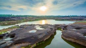 roca hermosa no vista de 3000 bok del Mekong Fotos de archivo