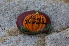 Roca pintada calabaza feliz de la acción de gracias Imagen de archivo libre de regalías