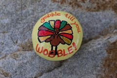 Roca pintada pavo de la acción de gracias Fotos de archivo libres de regalías