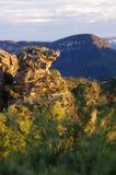 Roca principal de los verracos en la puesta del sol Foto de archivo