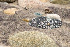 Roca sedimentaria clástica negra, con los guijarros coloridos en una playa arenosa imágenes de archivo libres de regalías