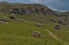 Roca sedimentaria interesante en reserva de naturaleza de Kwazulu Natal del castillo de Giants imagenes de archivo