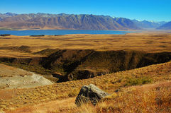 Roca y reguera en el lago Tekapo Fotos de archivo