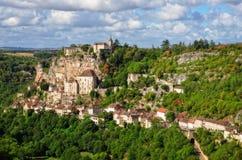 Rocamadour中世纪村庄横向视图 免版税图库摄影