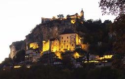 Rocamadour τη νύχτα στοκ φωτογραφία