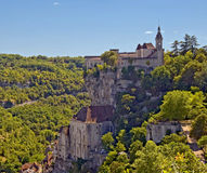 Rocamadour clinging to a cliff side. Royalty Free Stock Photo