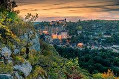 Rocamadour en la puesta del sol fotografía de archivo libre de regalías