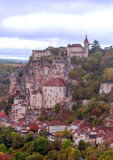 Rocamadour France. As seen from a popular tourist viewpoint. It´s a vertical picture Royalty Free Stock Photo