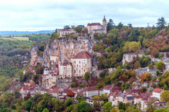 Rocamadour France. As seen from a popular tourist viewpoint surronded by mountains Royalty Free Stock Image