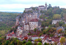 Rocamadour France. As seen from a popular tourist viewpoint surronded by mountains Royalty Free Stock Images