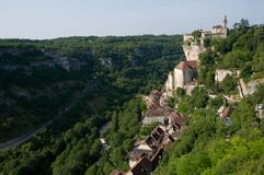 Rocamadour, France. The historic town of Rocamadour and the monastery is an important pilgrimage site in southwest France Stock Photos