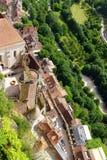 Rocamadour Frankrike - flyg- sikt Arkivfoto