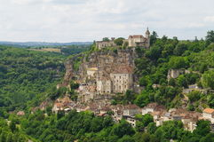 Rocamadour medieval pilgrim town. Rocamadour is a cliff hanging medieval village in south west of france in perigord Stock Photo