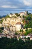 Rocamadour medieval village at sunrise, vertical Stock Photo