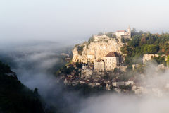 Rocamadour in the mist Royalty Free Stock Image