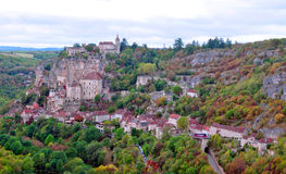Rocamadour. Panoramic image of Rocamadour located in France, surrounded by valleys and trees Stock Photography