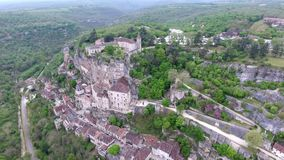 Rocamadour valley views: village on hillside, castle on top. Top interestings point in France. Its historical monuments and its sanctuary of the Blessed Virgin stock video