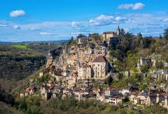 Rocamadour village, a beautiful UNESCO world culture heritage si. Rocamadour village, France, a beautiful medieval town a rock over a gorge, is an UNESCO world royalty free stock photography