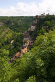 Rocamadour: Village, monastery and castle on rocks Royalty Free Stock Photos