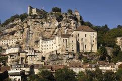 Rocamadour wioski światła dziennego szeroki krajobrazowy widok, Francja zdjęcie stock