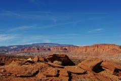 Rocas anaranjadas y paisaje de Utah Foto de archivo