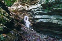 Rocas boscosas demasiado grandes para su edad con la hiedra y el musgo con la cascada que fluye abajo Foto de archivo
