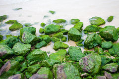 Rocas con el musgo verde Fotografía de archivo libre de regalías