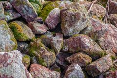 Rocas cubiertas con el musgo en la luz del sol Imagenes de archivo