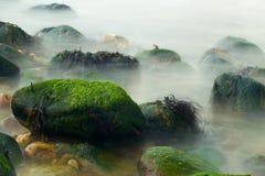 Rocas cubiertas de musgo del océano en niebla Foto de archivo