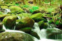 Rocas cubiertas de musgo verdes con la cascada fotos de archivo
