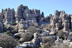 Rocas de El Torcal de Antequerra, Málaga, España imagenes de archivo