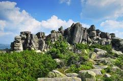 Rocas de Krkonose Fotos de archivo libres de regalías