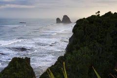 Rocas de la crepe en Punakaiki Fotos de archivo