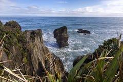 Rocas de la crepe en Punakaiki Imagen de archivo