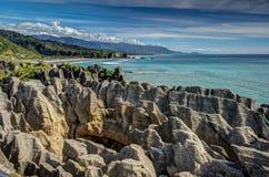 Rocas de la crepe, Punakaiki, costa oeste, Nueva Zelandia Imagen de archivo