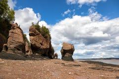 Rocas de la maceta de Hopewell, Nuevo Brunswick fotos de archivo