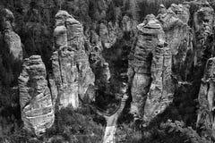 rocas de la piedra arenisca en República Checa Imagen de archivo