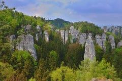 rocas de la piedra arenisca en República Checa Imágenes de archivo libres de regalías