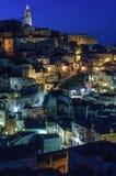 Rocas de Matera por noche Imágenes de archivo libres de regalías