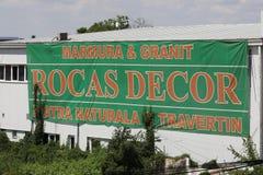 Rocas-Dekor, große Fahne im Freien Stockfotos