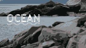 Rocas en el OCÉANO en el norte imagen de archivo libre de regalías