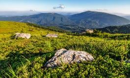 Rocas en la ladera herbosa de montañas cárpatas Imagenes de archivo