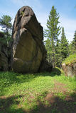 Rocas en la madera del pilar de Krasnoyarsk, Siberia Foto de archivo
