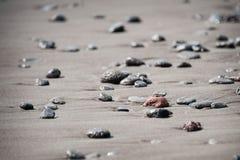 Rocas en la playa negra de la arena Fotografía de archivo