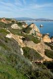 Rocas en Lagos, Algarve, Portugal foto de archivo libre de regalías