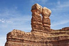 Rocas gemelas en peñasco, Utah imagen de archivo