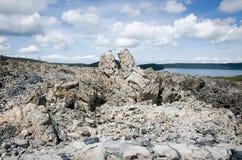 Rocas grandes del flujo de la obsidiana Foto de archivo libre de regalías